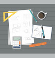 paper with ruler pencil pen coffee and calculator vector image vector image
