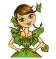 pretty spring girl with butterfly vector image