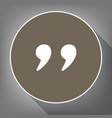 quote sign white icon on vector image vector image