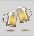 realistic detailed full beer glass mugs on a vector image