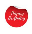 red sticker happy birthday vector image