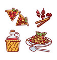 set of tasty italian traditional food vector image vector image