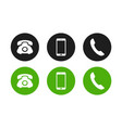 set phone handset smartphone icons vector image