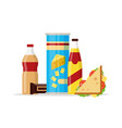 snack product set fast food snacks drinks chips vector image vector image