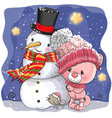 snowman and cute cartoon kitten girl vector image vector image