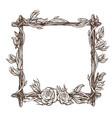 square frame made of branches with roses and vector image