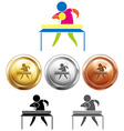 Table tennis icon and sport medals vector image