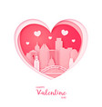 valentines card paper cut heart and the city vector image