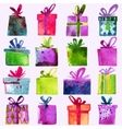 Watercolor Christmas set with gift boxes vector image vector image