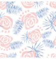 watercolor pattern with palm leaves roses vector image