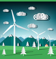wind mills flat design paper cut landscape with vector image