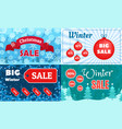 winter sale banner set flat style vector image