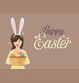woman with bunny ears mask holding easter eggs in vector image vector image