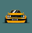 cartoon tuned old japan car front view vector image