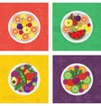 four flat of salads and fruit vector image