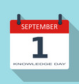 1 september knowledge day flat daily cale vector image vector image