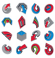 3d abstract icons set simple corporate graphic vector image vector image