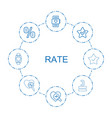 8 rate icons vector image vector image