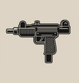 a uzi gun on white background vector image vector image