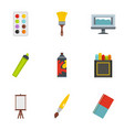 art instruments icons set flat style vector image vector image