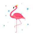 beautiful little princess pink flamingo in golden vector image vector image
