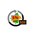 black friday discount 5 percentage vector image vector image