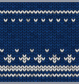 blue knitted fabric with white ornaments vector image vector image