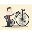 Business Man and Vintage Bike vector image vector image