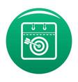calendar target icon green vector image vector image