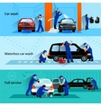 Car Wash Service 3 Flat Banners vector image vector image