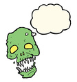 cartoon scary skull with thought bubble vector image