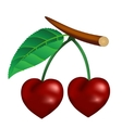 Cherry in the form of heart vector image vector image