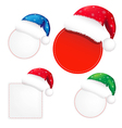 Christmas Banners Set With Color Santa Claus Cap vector image