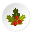 christmas berries icon circle vector image vector image