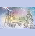 city cafe with christmas tree vector image