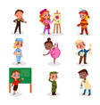 cute boys and girls various professions set vector image