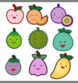cute fruit set on a white background vector image