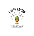 easter egg in stand icon easter greeting card vector image vector image