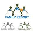 family resort emblem with mountains and sun vector image vector image