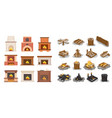 Fireplace isolated icons set logs wooden material
