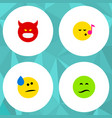 flat icon emoji set of tears descant frown and vector image vector image