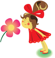 Girl with flower vector image vector image
