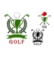Golf emblem and badges design templates vector image