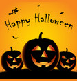 halloween poster with three pumpkins and witch vector image