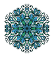 Hand drawn ornamental blue snowflake vector image vector image