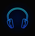 headphone blue isolated outline icon or vector image vector image