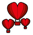 hot air balloons flying with heart shape vector image vector image
