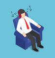 isometric businessman resting at sofa and vector image