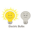 light bulbs glowing and dark vector image