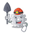 miner gear settings mechanism on mascot shape vector image